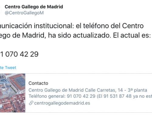 Cambio de número de teléfono del Centro Gallego de Madrid: 91 070 42 29