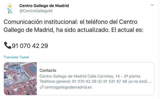 Cambio teléfono Centro Gallego de Madrid