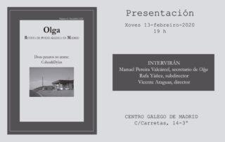 Presentación Número 8 de Olga, Revista de Poesía Galega en Madrid