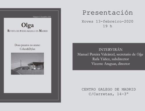 """Presentación del Número 8 de Olga, """"Revista de Poesía Galega en Madrid"""" en el Centro Gallego de Madrid"""