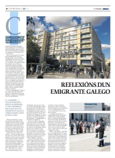 Artículo Fernando Rey Paz en la Región de Ourense